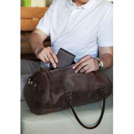 Мужская дорожная сумка с кожи коричневая Harper, фото