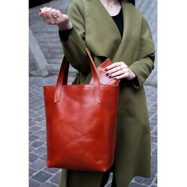 Женская сумка кожаная шоппер кориневая, фото