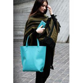 Женская кожаная сумка шоппер бирюзовая, фото
