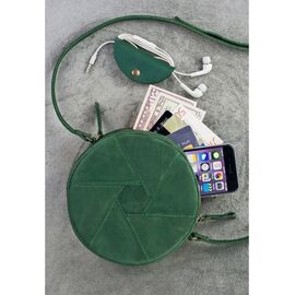 Эргономичная женская кожаная сумка на плече изумруд Бон-бон, фото