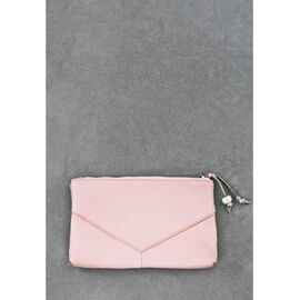 Женская косметичка кожаная розовая пудра, фото
