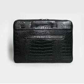 Папка кожаная с тиснением для MacBook (Макбук) черная B13 (21-00), фото
