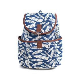 Рюкзак с цветочным принтом Boho Leaf patterns синий, фото