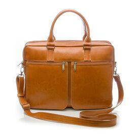 Кожаная сумка на плечо для ноутбука светло коричневая, фото