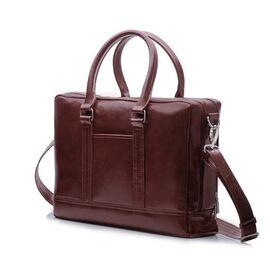 Элегантная кожаная сумка на плечо для ноутбука каштановая, фото