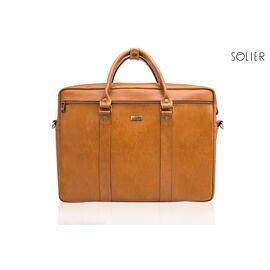 Кожаная сумка для ноутбука через плечо светло коричневая, фото