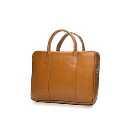 Кожаная сумка для ноутбука EDYNBURG на ремне светло коричневая, фото