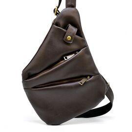 Мужская кожаная сумка-слинг GC-6402-3md коричневая бренд TARWA, фото