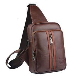 Стильный мужской рюкзак-моношлейка из кожи BULL T1357 коричневый, фото