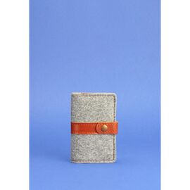 Фетровый кард-кейс 6.1 с кожаными коричневыми вставками, фото