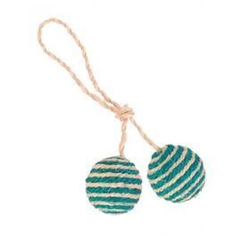 Мячик для кота с погремушкой на верёвке d:4,5 см (сизаль, в цветовом ассортименте) - Trixie - 4077, фото
