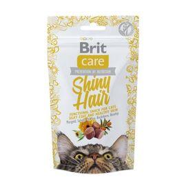Функциональные лакомства Brit Care Shiny Hair с лососем для котов, 50г, фото