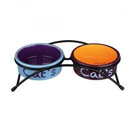 Миски керамические на подставке Trixie «Eat on Feet» 2 x 300 мл / 12 см (разноцветные), фото